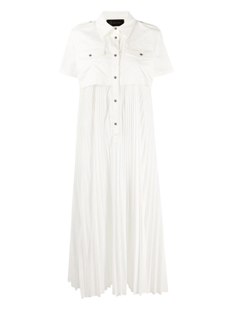 Mr & Mrs Italy Off-white Midi Dress With Pleated Skirt - OFF WHITE
