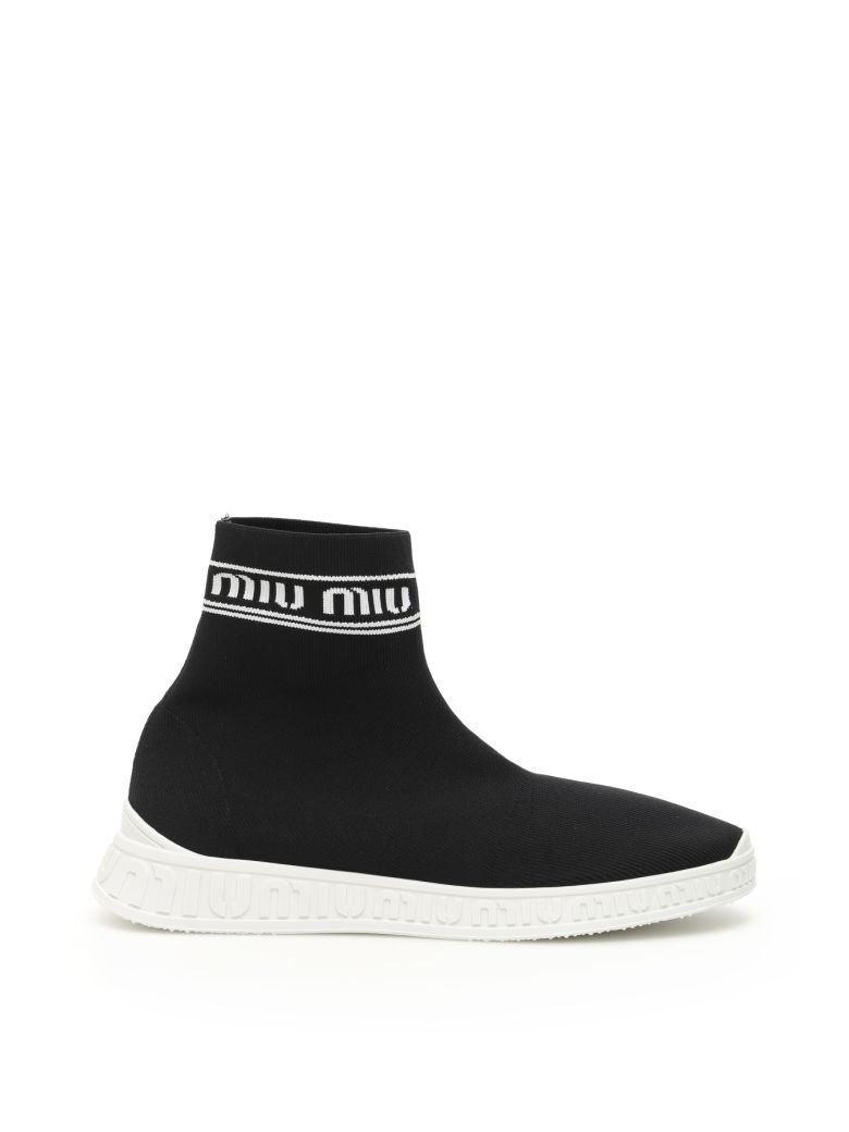 Miu Miu Logo Sock Sneakers - NERO BIANCO (Black)