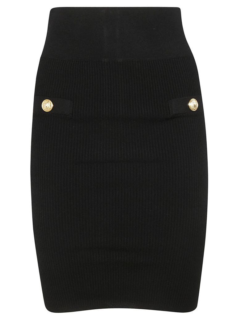 Balmain Knitted Pencil Skirt - 0pa Noir