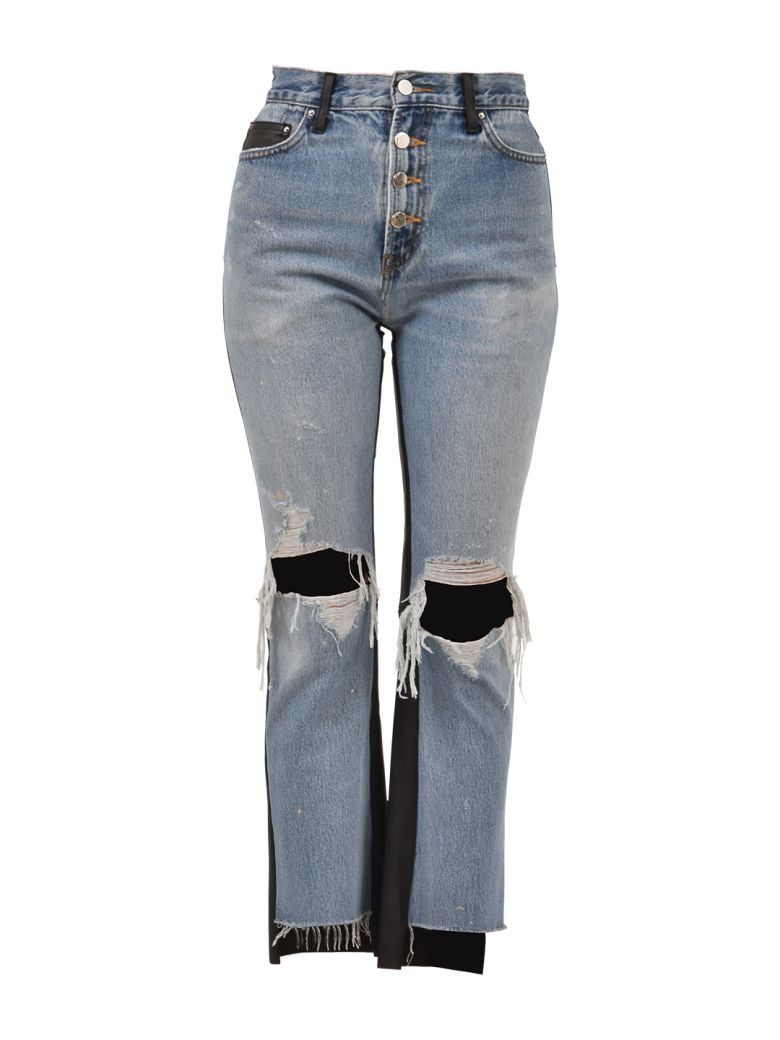 AMIRI Leather And Denim Jeans - Blue