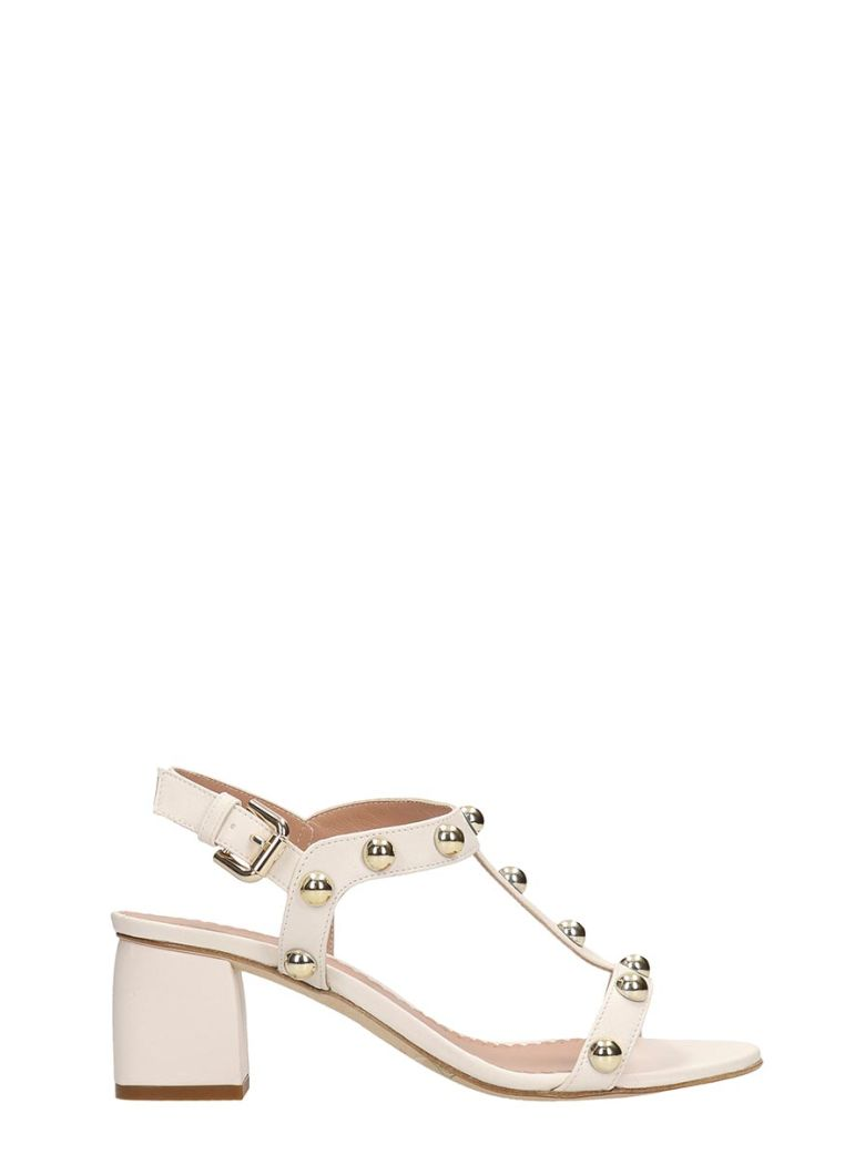 Julie Dee White Calf Leather Sandals - White