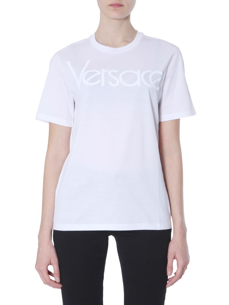 Versace T-shirt With Embroidery Logo - BIANCO