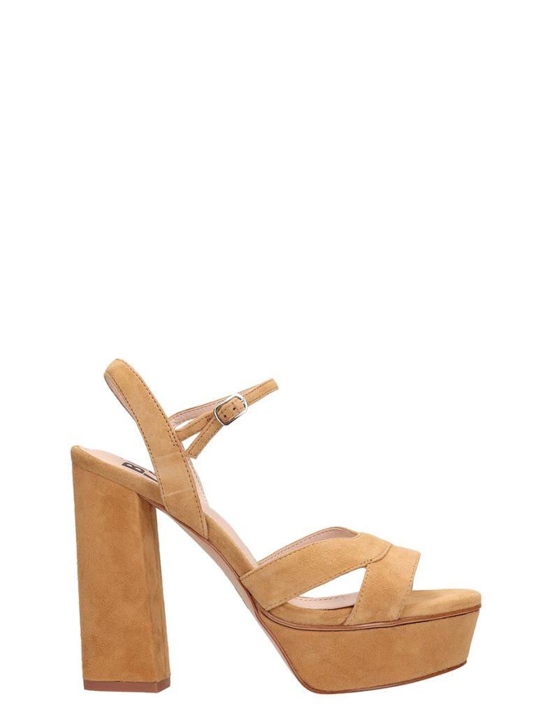 Bibi Lou Plateau Brown Suede Leather Sandals - Basic