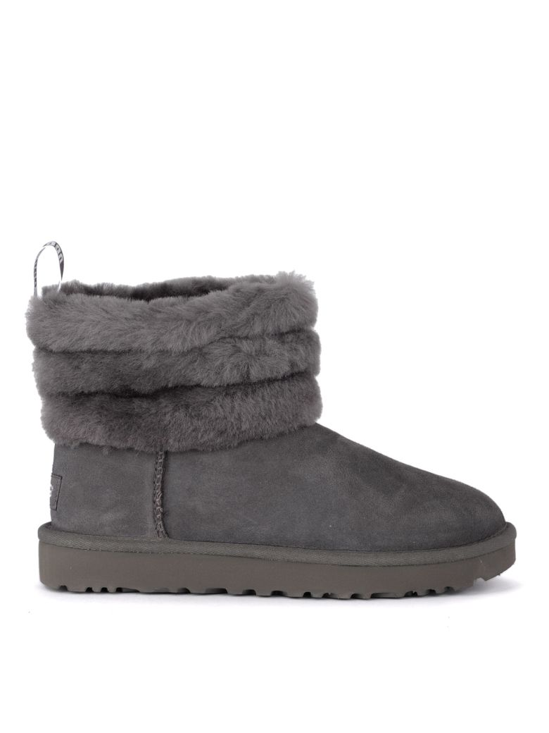 UGG Fluff Mini Grey Suede Leather Ankle Boots. - Gray
