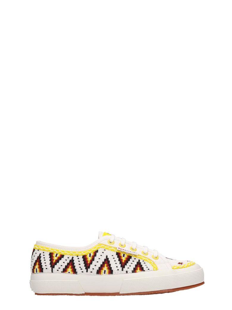 Superga White Canvas Sneakers - yellow
