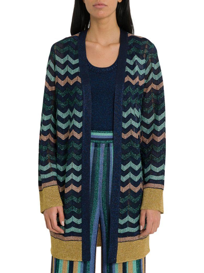 M Missoni Lurex Knit Longline Cardigan - Blue