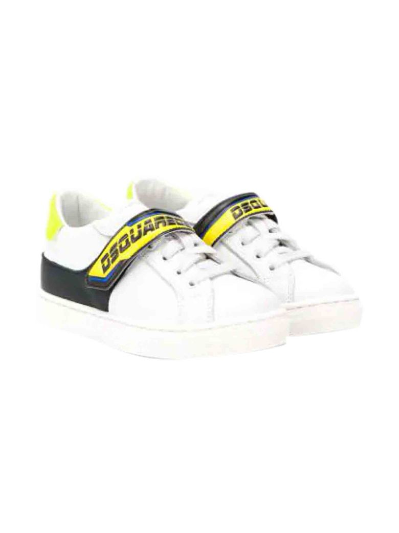 Dsquared2 Dsquared2 White Sneakers With Yellow And Black Details