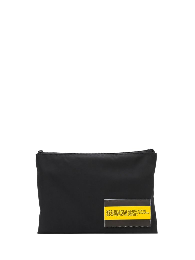 Calvin Klein Jeans Nylon Pouch With Leather Pouch - Nero
