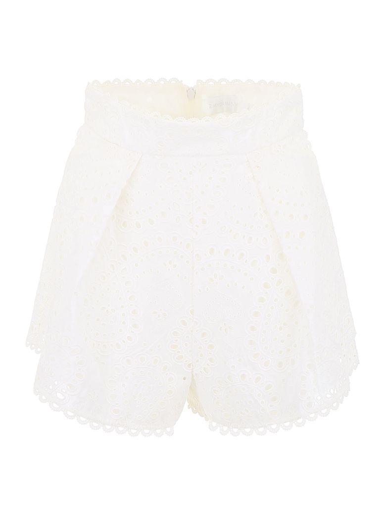 Zimmermann Embroidered Shorts - IVORY Bianco