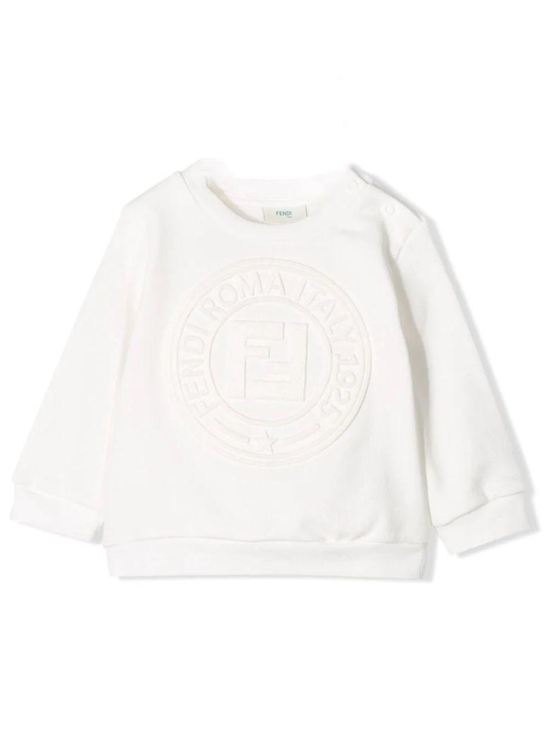 Fendi Textured Logo Sweatshirt - Gesso
