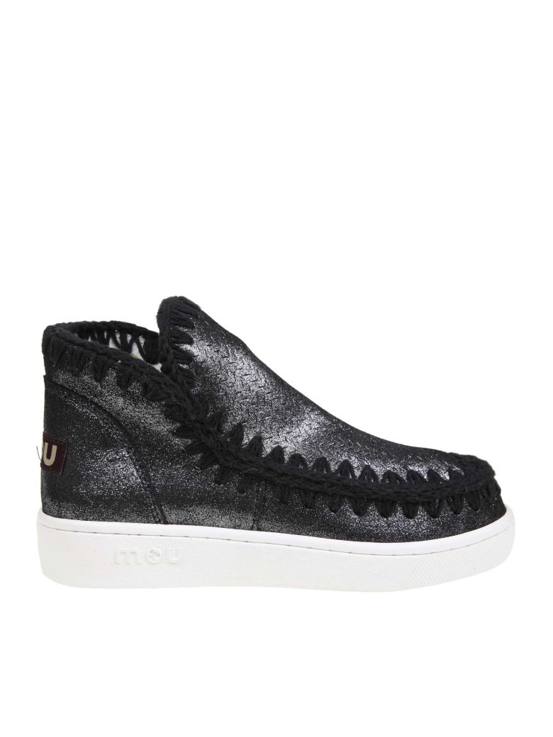 Mou Sneakers In Suede Glittered Leather Color Black - Black