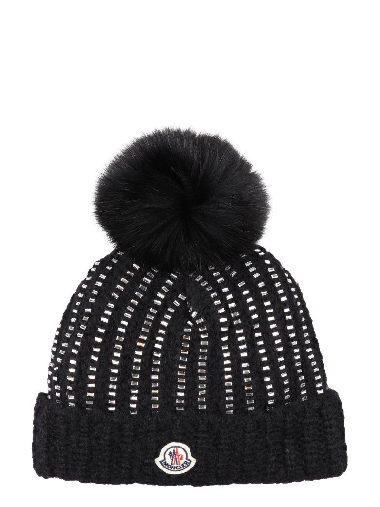 Moncler Pom-Pon Detail Tricot Knit Beanie In Black