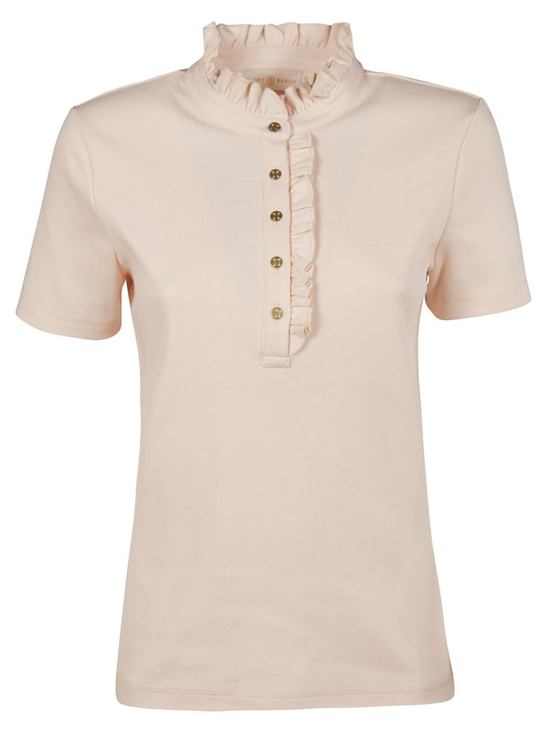 Tory Burch Frilled Polo Shirt - pink