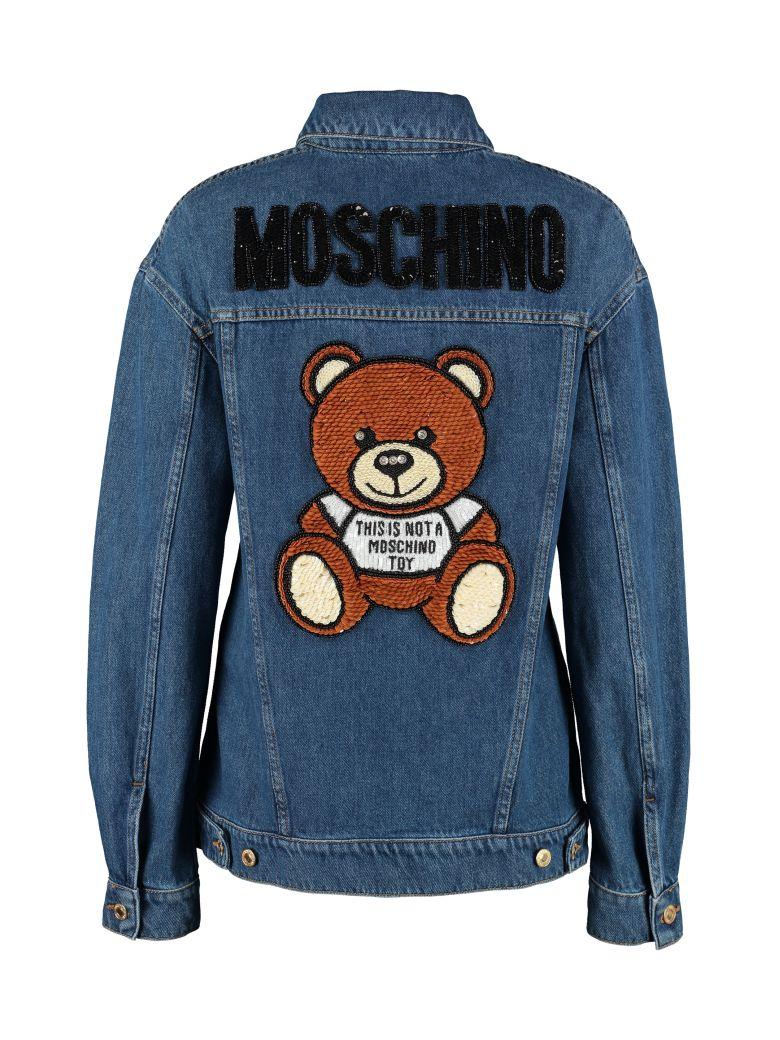 0edb97450 Moschino Moschino Teddy Bear Embroidery Denim Jacket - Denim - 10883788 |  italist