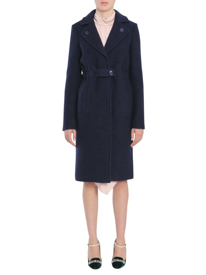 Carven Boiled Wool Coat - BLU