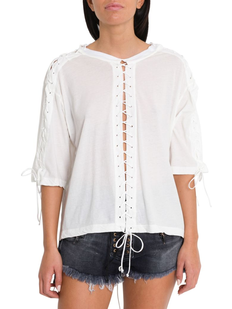 Ben Taverniti Unravel Project Lace-up Tee - White