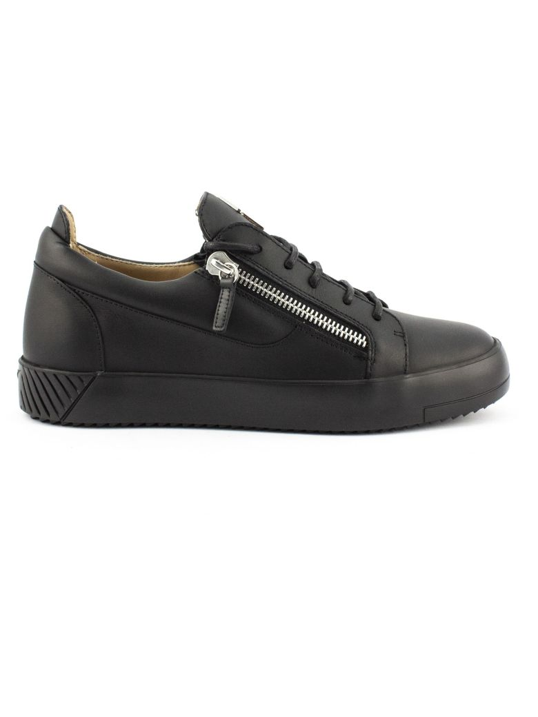 Giuseppe Zanotti Black Calfskin Leather Low-top Frankie Sneaker. - Nero