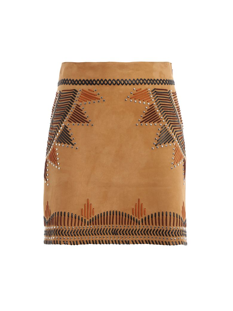 Alberta Ferretti High Waist Leather Skirt - Basic