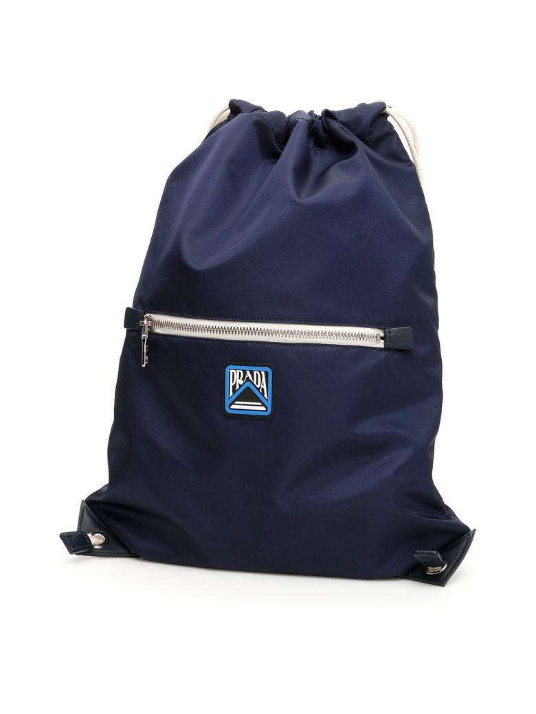 Prada Backpack With Logo Patch - BALTICO (Blue)