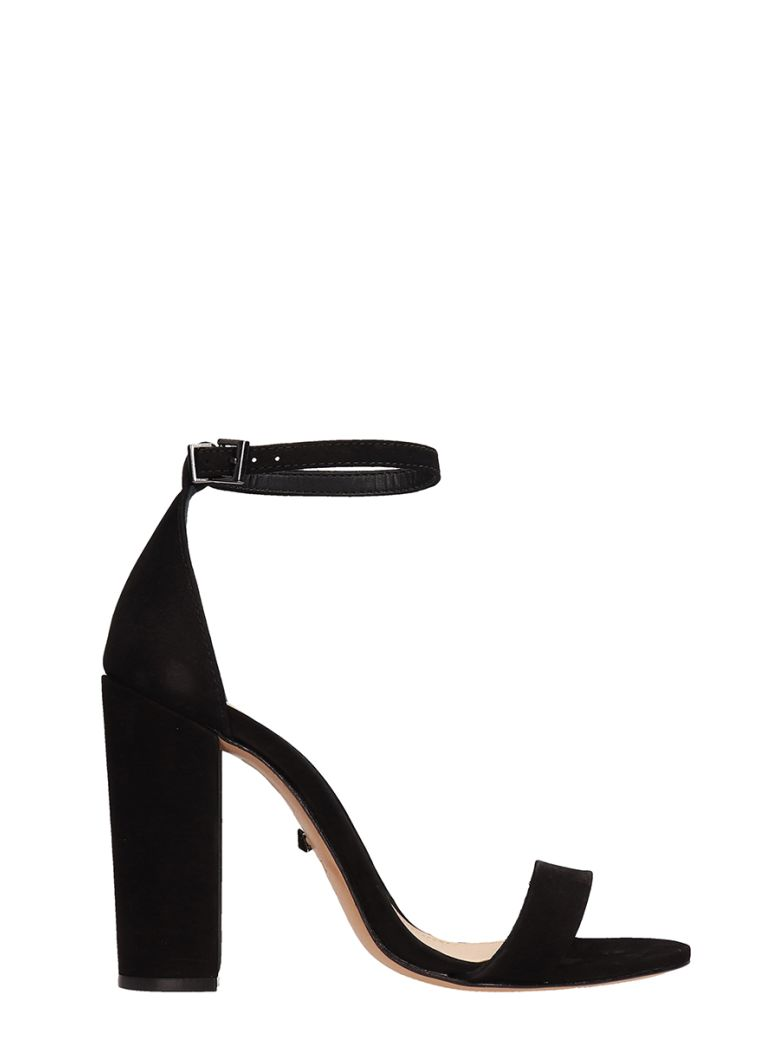 Schutz Black Suede Leather Sandals - black