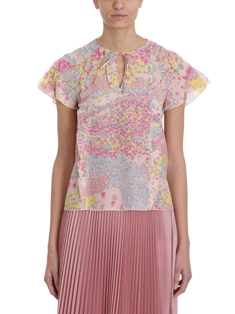 RED Valentino Cascading Stars Printed Silk Chiffon Blouse - rose-pink