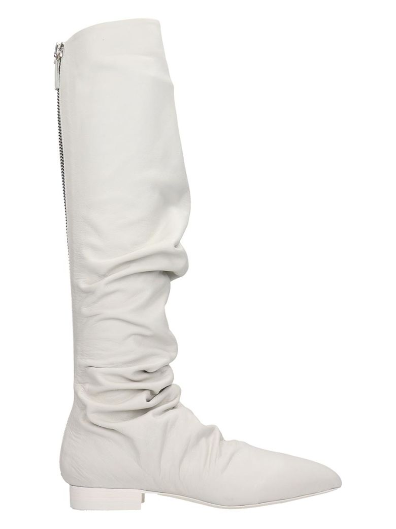 Jil Sander Low Heels Boots In White Leather