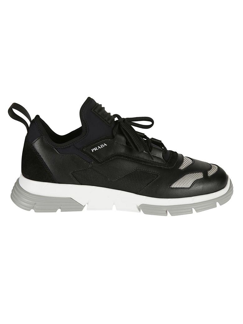 Prada Linea Rossa Knit Sneakers - Black/White