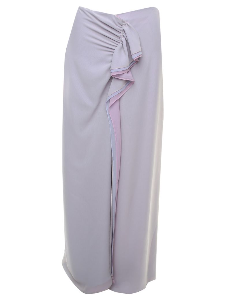 Giorgio Armani Draped Silk-georgette Midi Skirt - Gray