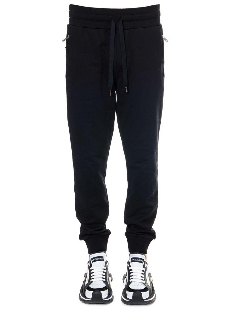 Dolce & Gabbana Black Cotton Sport Pants - Black