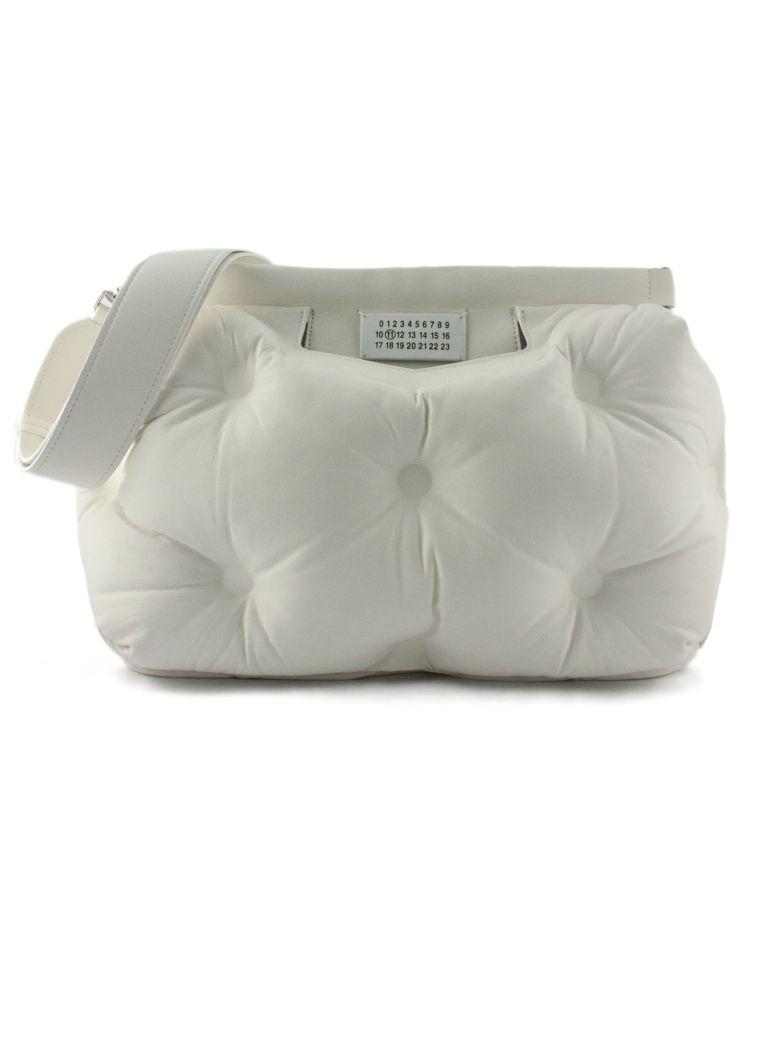 Maison Margiela Black Glam Slam Medium Bag In White Leather - Bianco
