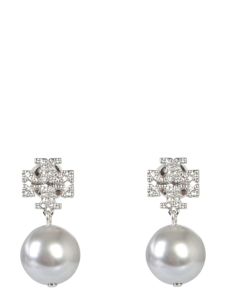 Tory Burch Crystal Logo Earrings And Pearl Pendant - ARGENTO
