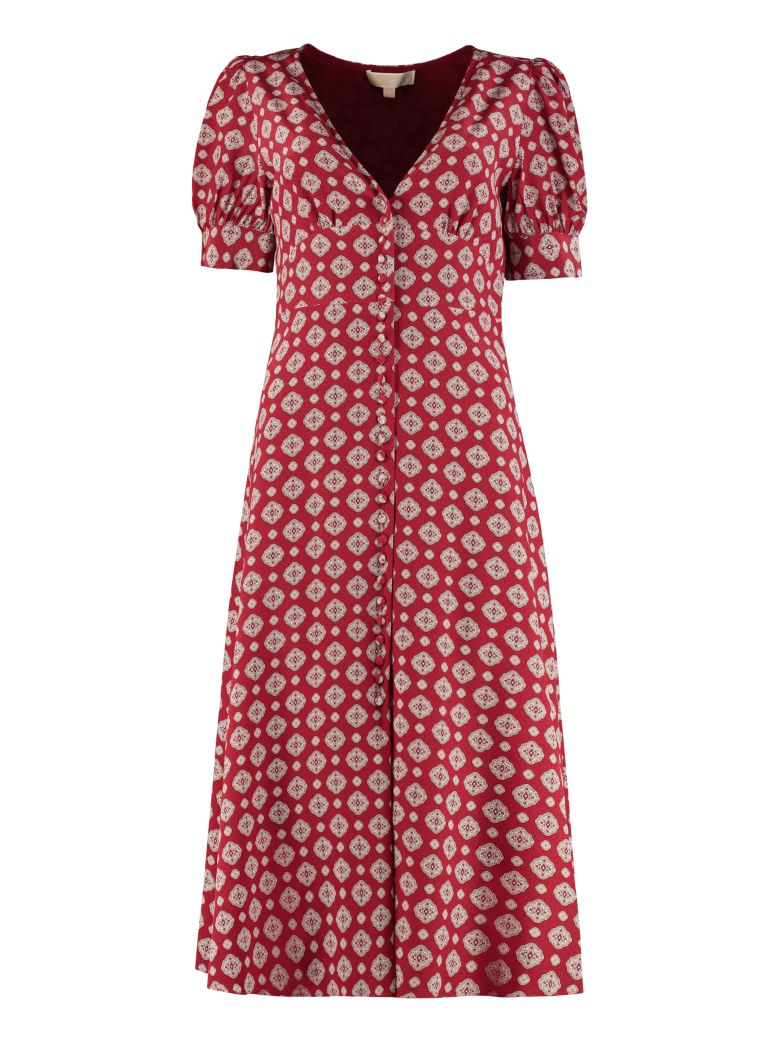 MICHAEL Michael Kors Printed Silk Wrap-dress - Burgundy