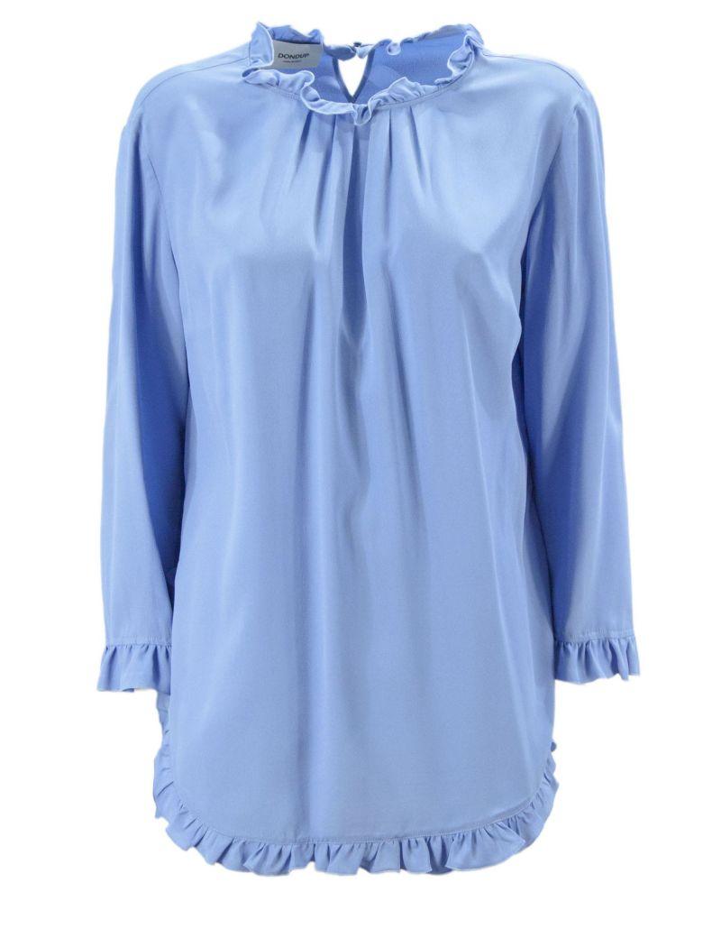Dondup Light Blue Blend Silk Top. - Azzurro