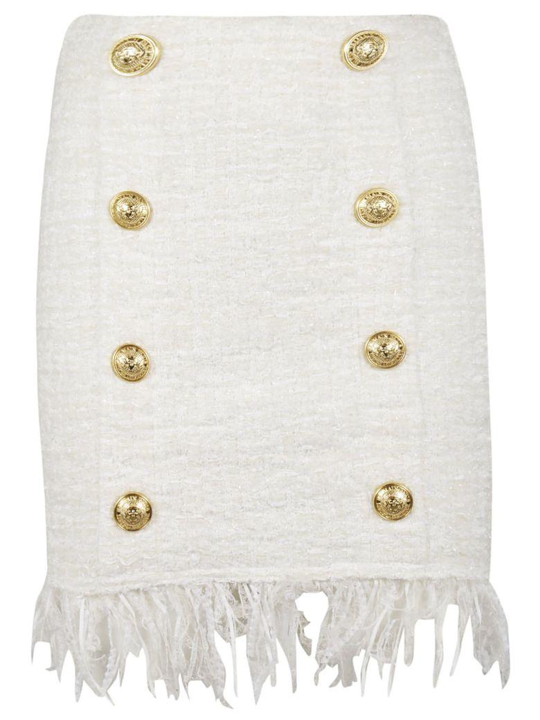 Balmain Tweed Shredded Button Skirt - 0fa Blanc