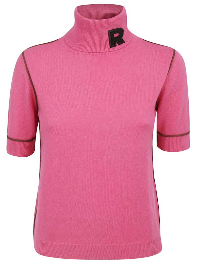 Rochas Roll Neck Logo Sweater - Pink