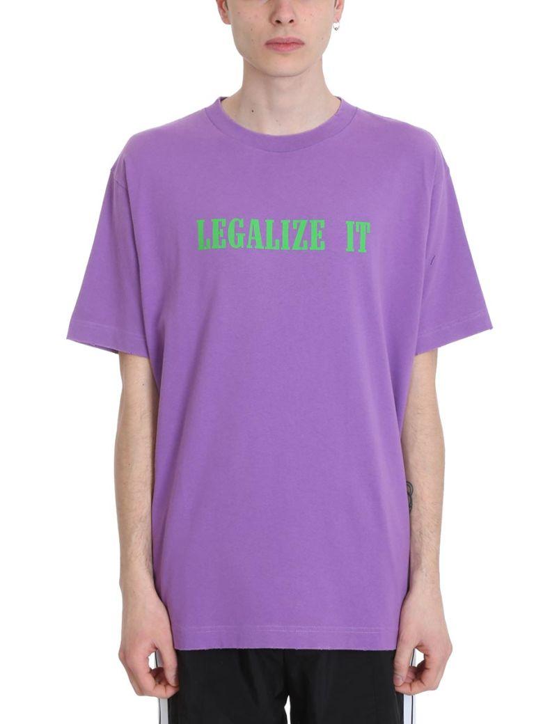 Palm Angels Legalize Purple Cotton T-shirt - Purple