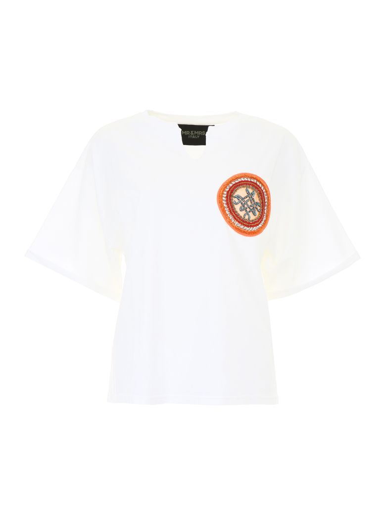Mr & Mrs Italy T-shirt With Embroidery - IVORY|Beige