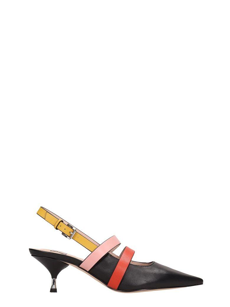 Bibi Lou Black Leather Chanel Sandals - Black