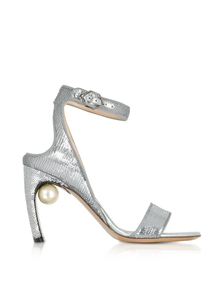 Nicholas Kirkwood Silver Sequins 90mm Lola Pearl Sandals - Silver