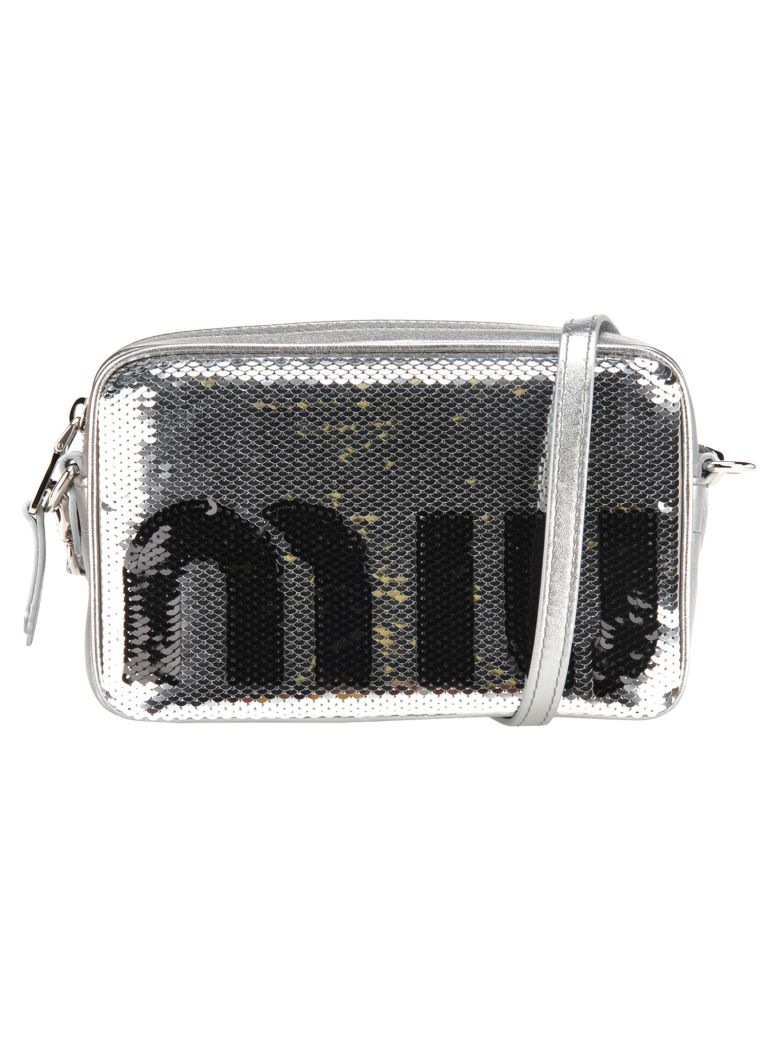Miu Miu Camera Bag Pailettes Logo - SILVER