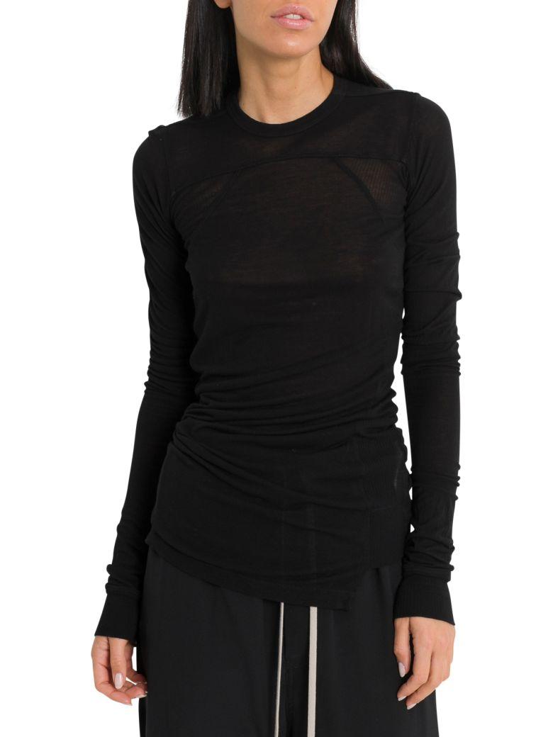 Rick Owens Cropped Long Sleeve T-shirt - Nero