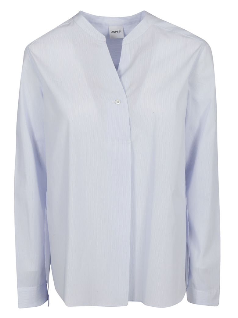 Aspesi Slim Striped Band Collar Shirt - Microrgazz