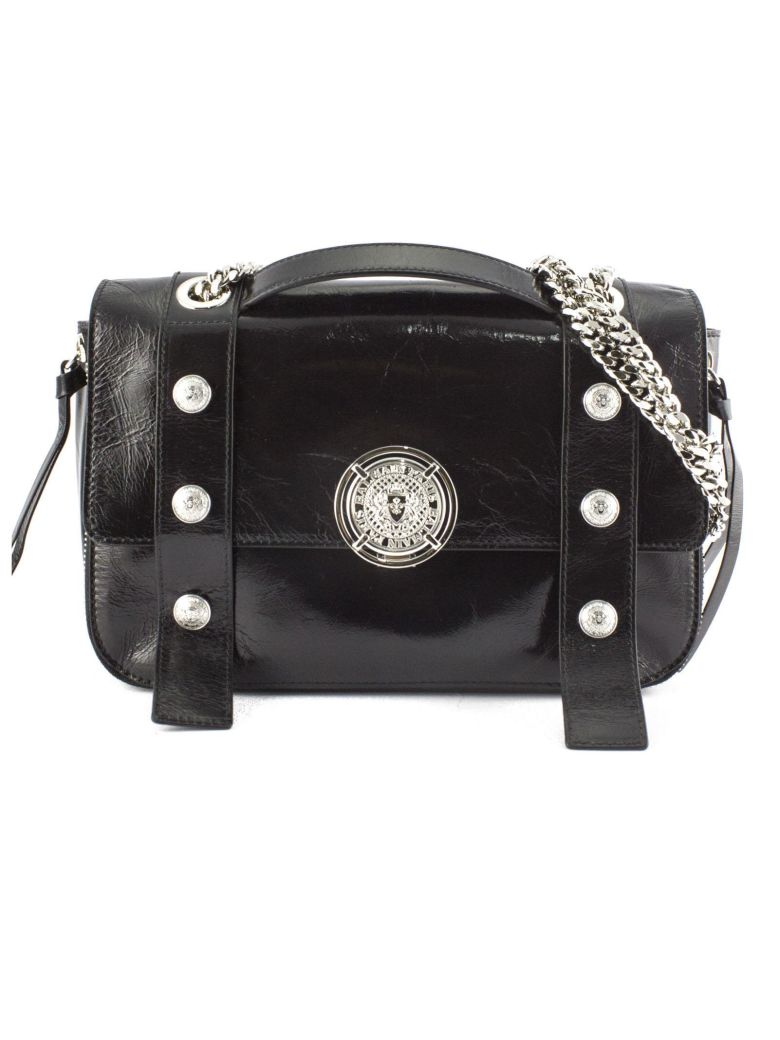 Balmain Shoulder Bag In Black Leather. - Nero