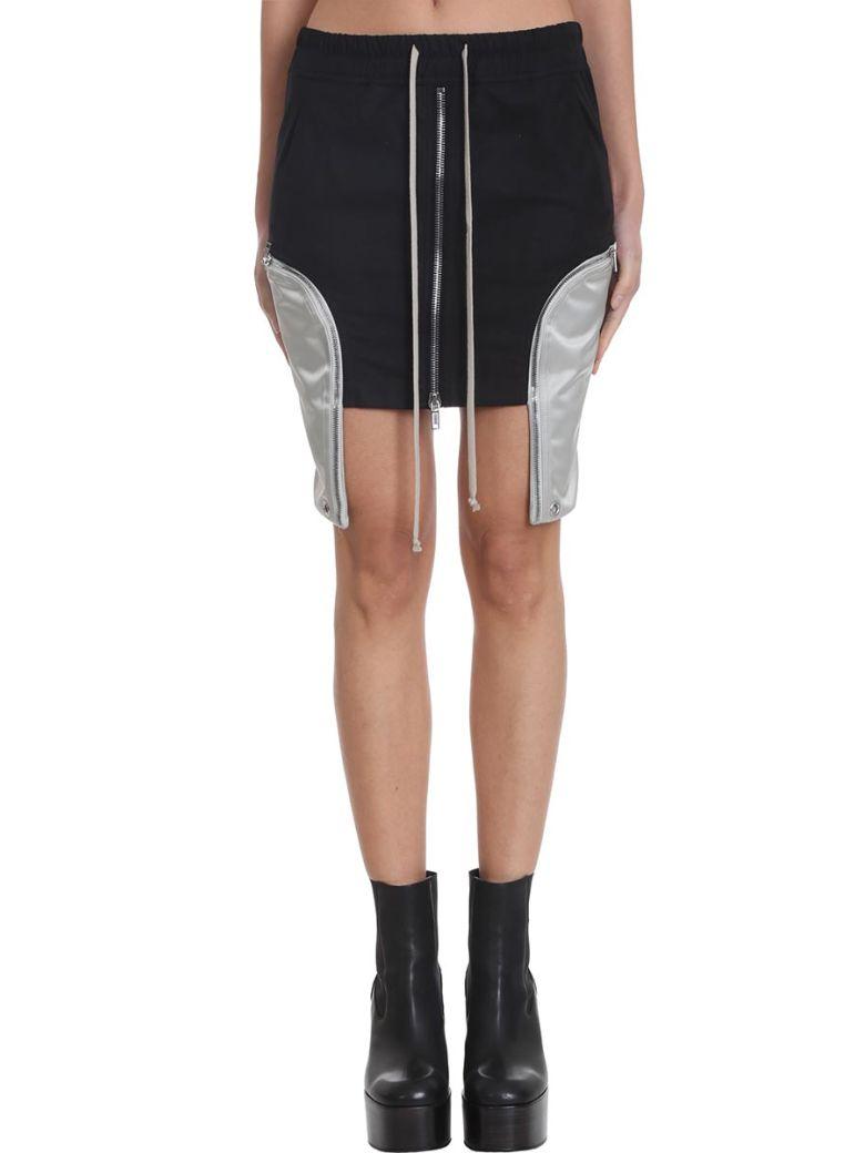 Rick Owens Ies Mini Shirt Skirt In Black Polyester - Black/pearl