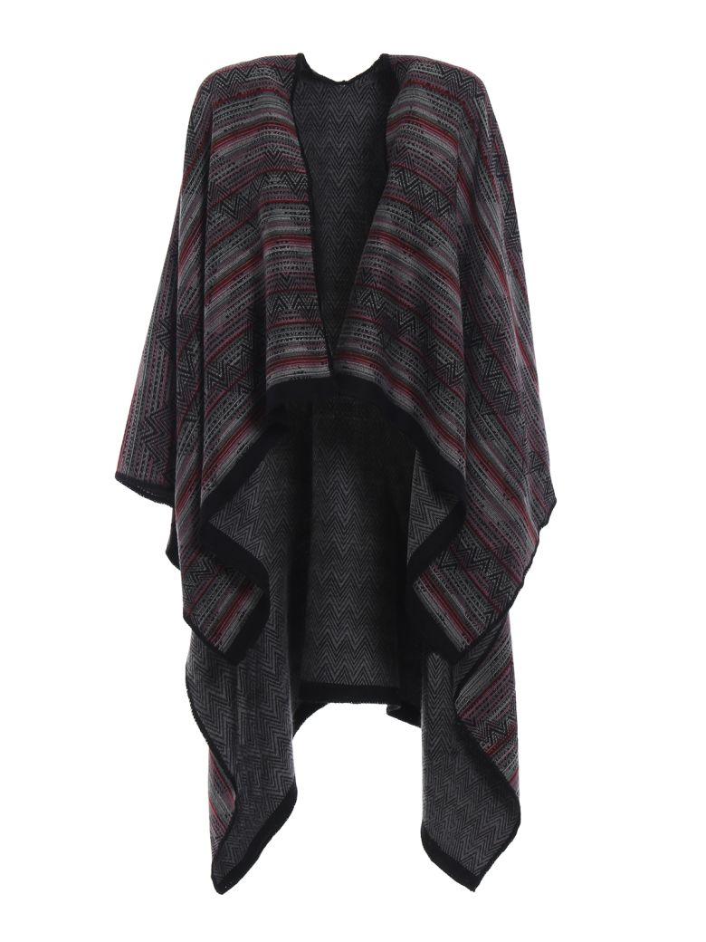 M Missoni Native American Inspired Wool Jacquard Poncho - Multicolor