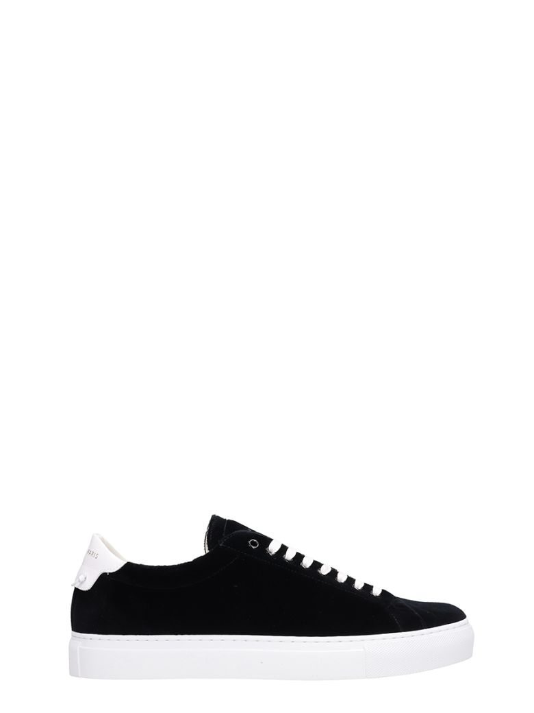 Givenchy Black Velvet Urban Street Sneakers - black