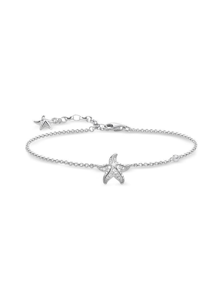 Thomas Sabo Sterling Silver Starfish Bracelet W/white Zirconia - Silver