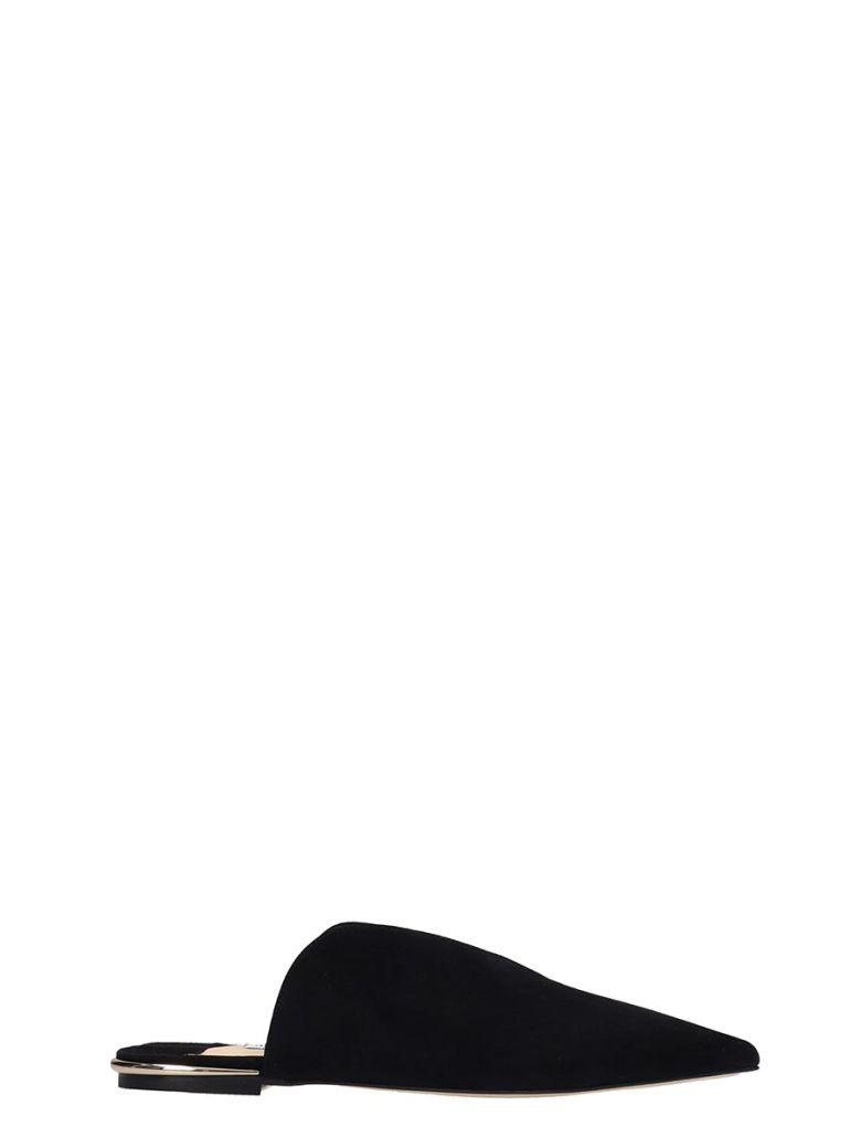 Jimmy Choo Black Suede Tahla Flat Sandals - Black