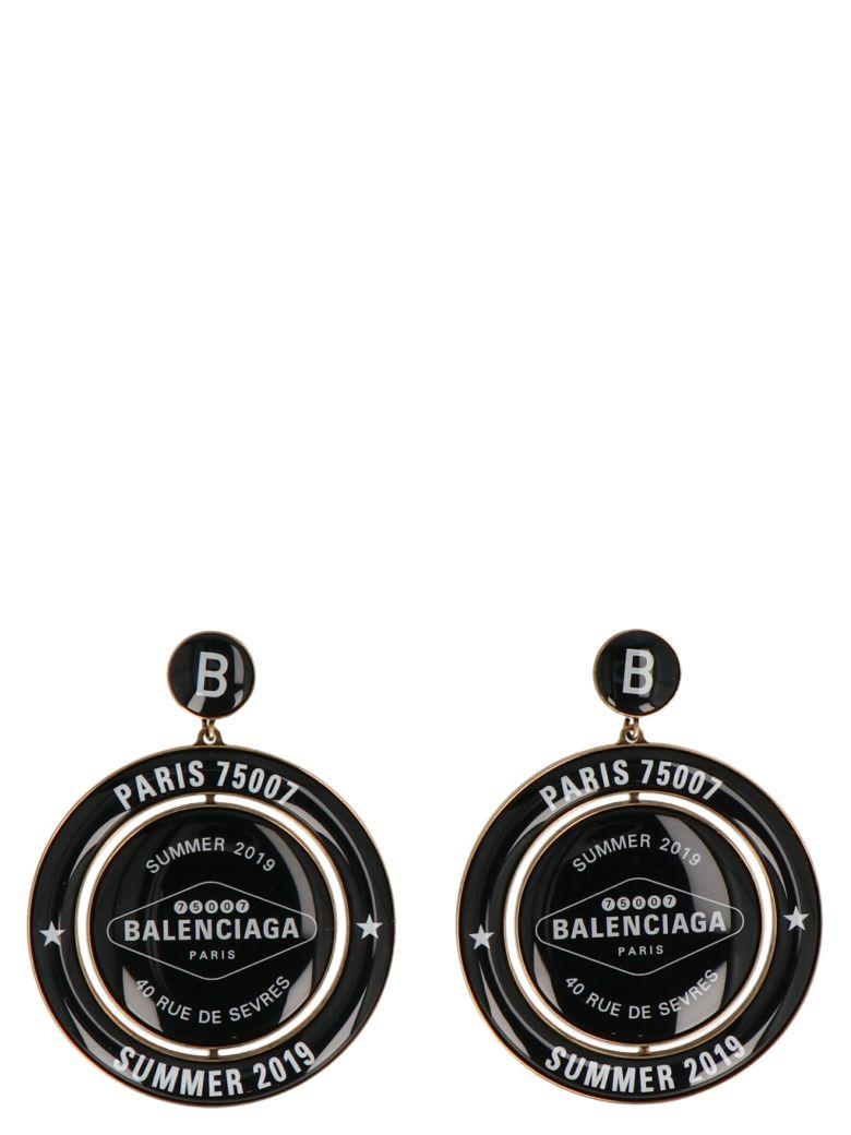 Balenciaga 'casino Earp Round' Earrings - Black