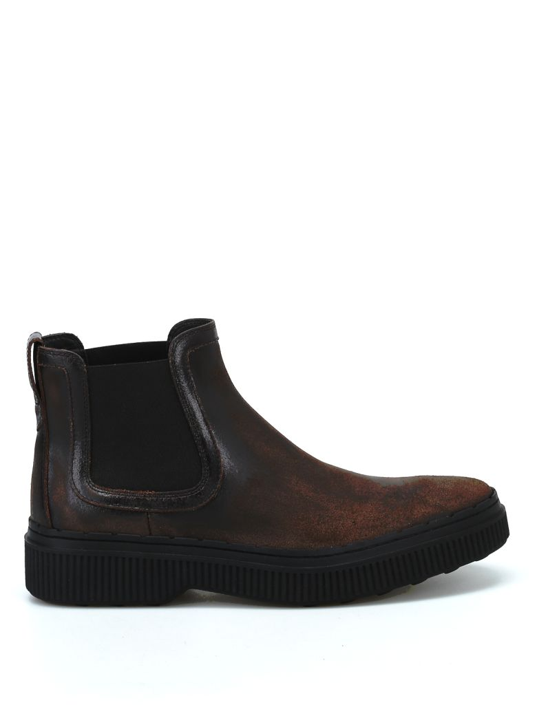 Tod's Used Effect Leather Chelsea Boots - Brown
